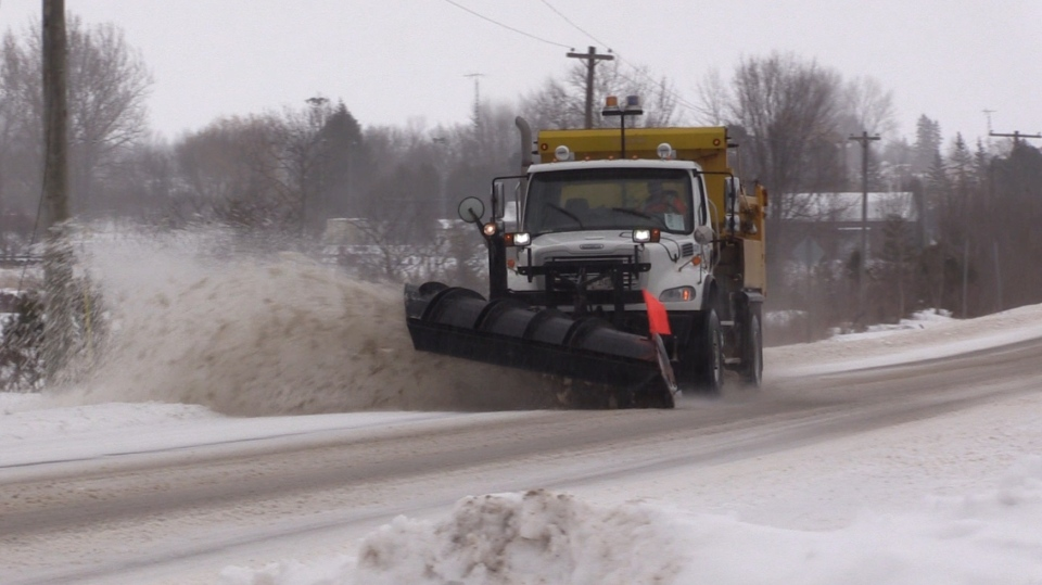 Dozens of plows dispatched across Simcoe, Muskoka, Dufferin and Grey counties. (April 15, 2018, Roger Klein/CTV Barrie)