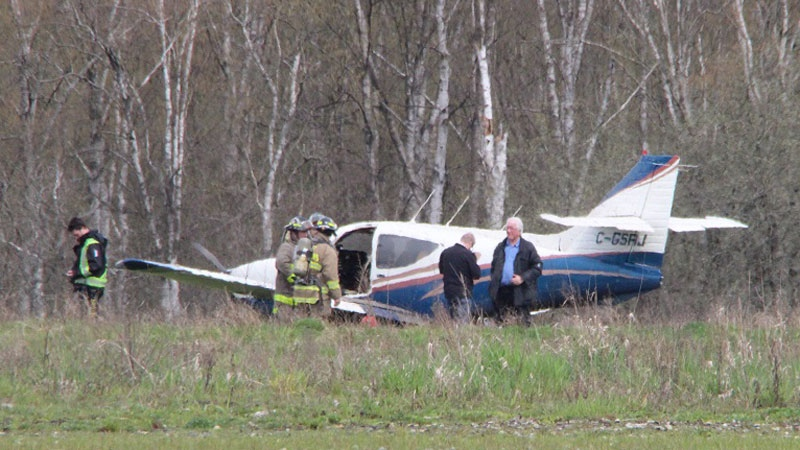 The plane landed short of the runway in a field on April 15, 2018.