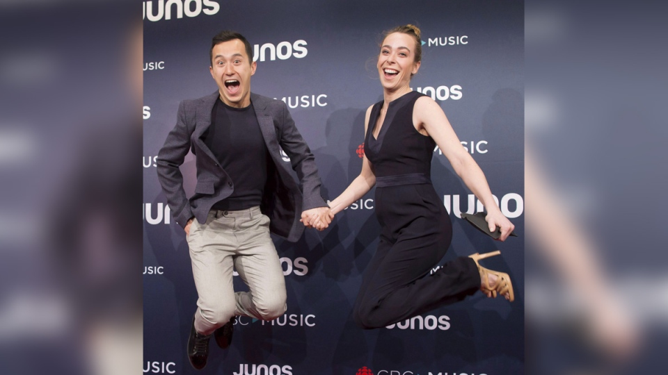 Patrick Chan and Elizabeth Putman arrive on the red carpet at the Juno Awards in Vancouver, on March, 25, 2018. (Darryl Dyck / THE CANADIAN PRESS)