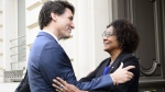Prime Minister Justin Trudeau meets with Michaelle Jean, Secretary General of the Organisation Internationale de la Francophonie, at OIF Headquarters in Paris, France on April 16, 2018. (Sean Kilpatrick / THE CANADIAN PRESS)