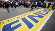 The 2018 Boston Marathon finish line