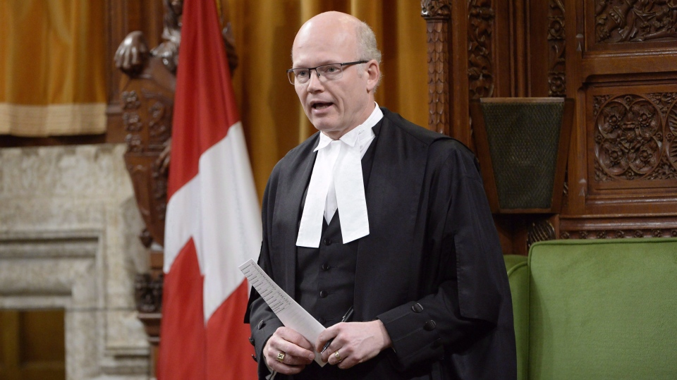 Speaker of the House Geoff Regan in the House of Commons in Ottawa, Wednesday, March 22, 2017. The Conservatives today will ask for an emergency debate on the Trans Mountain pipeline situation.THE CANADIAN PRESS/Adrian Wyld