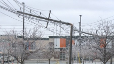 Hydro poles at Ottawa Trainyards snapped