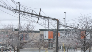 Hydro poles at Ottawa Trainyards snapped by ice storm on Monday, Apr. 16, 2018. (CTV Ottawa)