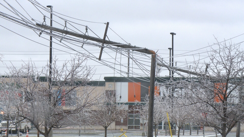 Hydro poles at Ottawa Trainyards snapped by ice storm on Monday, Apr. 16, 2018. (CTV Ottawa)