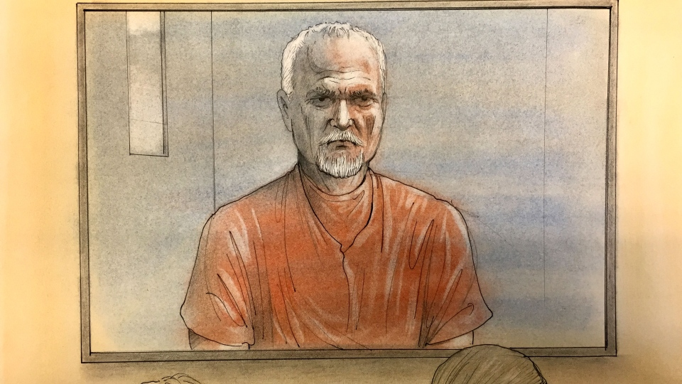 Bruce McArthur is seen in court via video link at an April 16, 2018 appearance. (John Mantha)