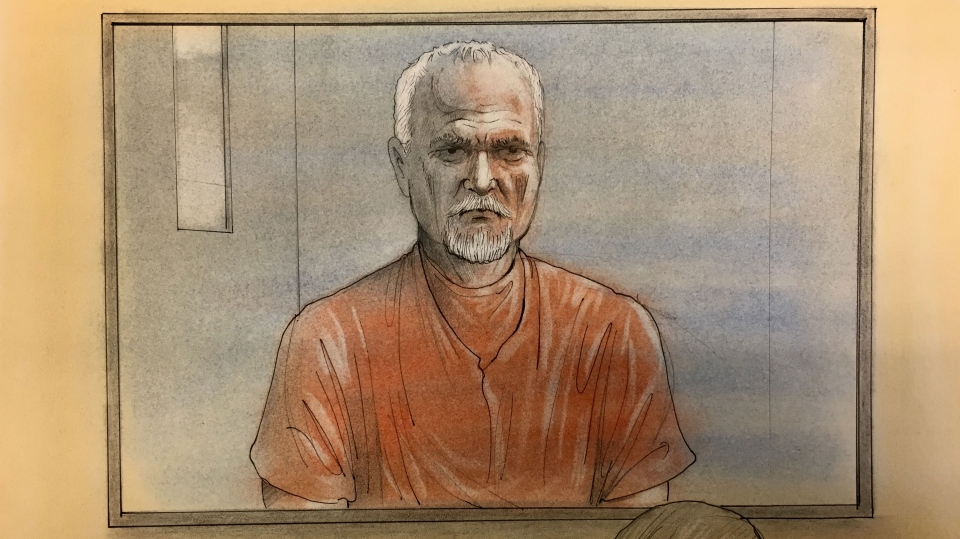 Accused serial killer Bruce McArthur appears via video link in a Toronto courtroom where he was charged with an eighth count of first-degree murder on April 16, 2018. (Sketch by John Mantha)