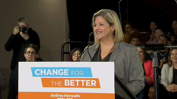 Ontario NDP leader Andrea Horwath announces her party's platform ahead of the June election on April 16, 2018.