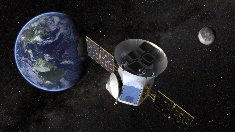 This image made available by NASA shows an illustration of the Transiting Exoplanet Survey Satellite (TESS). Scheduled for an April 2018 launch, the spacecraft will prowl for planets around the closest, brightest stars. These newfound worlds eventually will become prime targets for future telescopes looking to tease out any signs of life. (NASA)