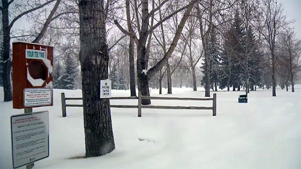 Golf courses in the city are snow covered and that could delay the season for some.