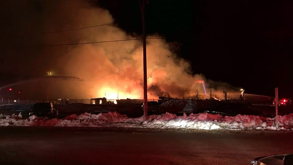 Fire broke out at a hangar at the Prince Albert airport on Sunday, April 15, 2018. (SOURCE: PRINCE ALBERT FIRE)