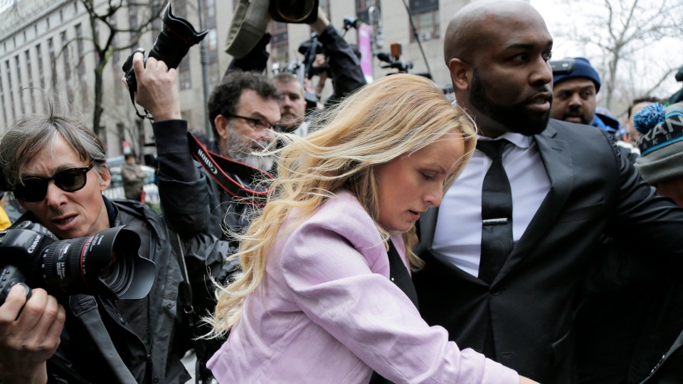 Stormy Daniels arrives at federal court in New York, to attend a court hearing where a federal judge is considering how to review materials that the FBI seized from U.S. President Donald Trump's personal lawyer to determine whether they should be protected by attorney-client privilege on Monday, April 16, 2018. (AP Photo/Seth Wenig)