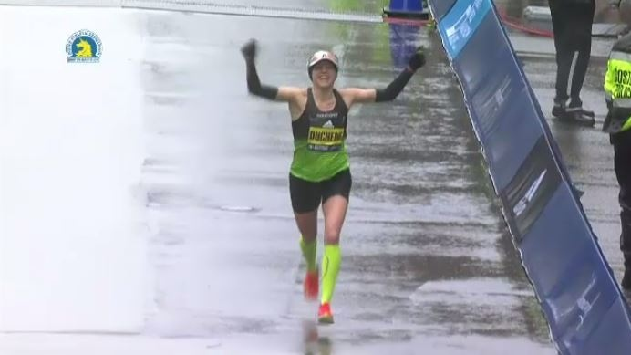 """Known as Canada's """"marathon mom,"""" Brantford's Krista Duchene was the first Canadian woman to cross the finish line at the Boston Marathon April 16, 2018."""