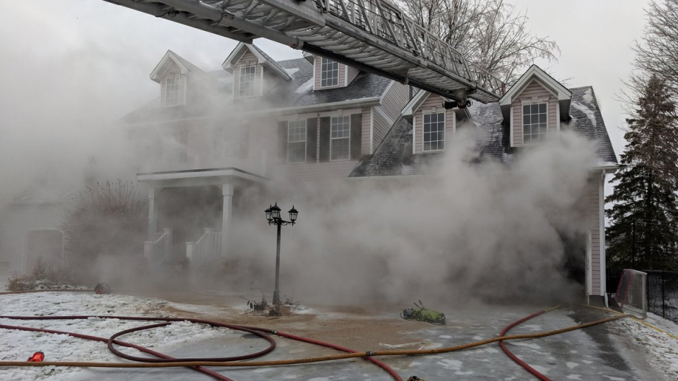 Two Ottawa firefighters were injured in a Stittsville house fire on Monday, Apr. 16, 2018. (Scott Stillborn/Ottawa Fire Services)