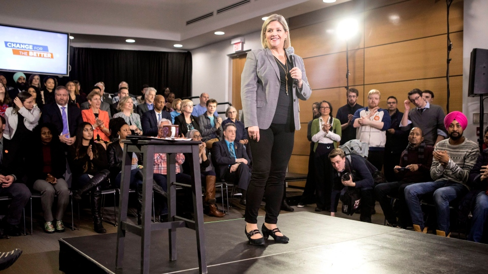 Ontario NDP Leader Andrea Horwath unveils her platform to supporters at a rally in Toronto on Monday, April 16, 2018. (THE CANADIAN PRESS/Chris Young)