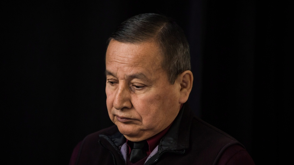 Grand Chief Stewart Phillip, President of the Union of B.C. Indian Chiefs, arrives for a news conference with Indigenous leaders and politicians opposed to the expansion of the Trans Mountain pipeline, in Vancouver, B.C., on Monday April 16, 2018. THE CANADIAN PRESS/Darryl Dyck