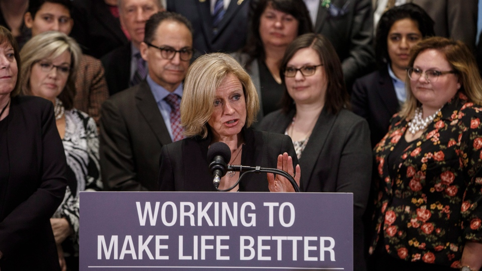 Alberta Premier Rachel Notley, speaks about bringing forward new legislation giving Alberta the power to control oil and gas resources, in Edmonton Alta, on Monday April 16, 2018. (THE CANADIAN PRESS/Jason Franson)