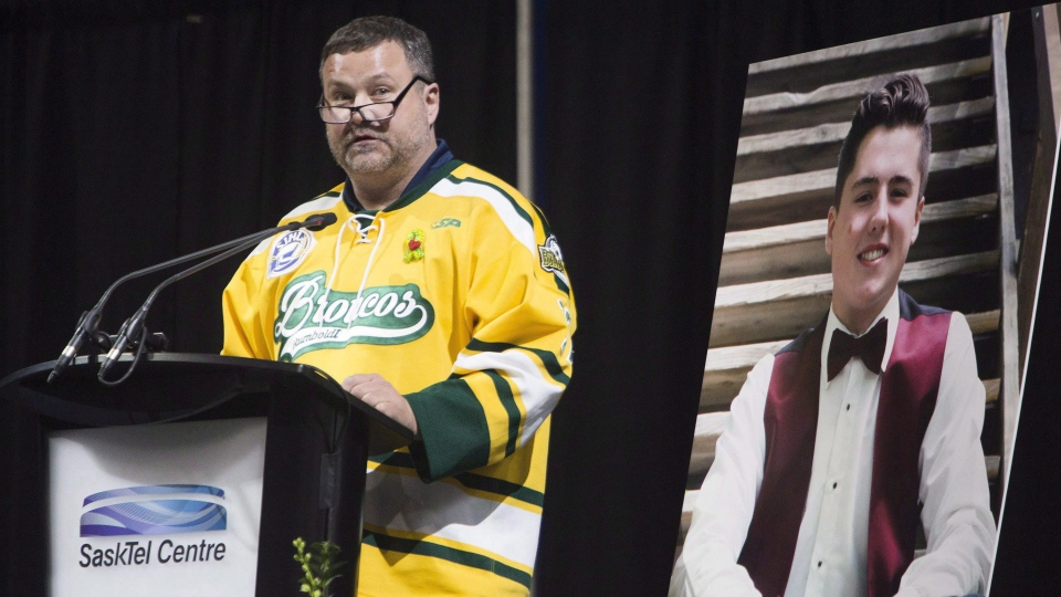 Scott Thomas gives a eulogy for his deceased son Evan Thomas in Saskatoon on Monday, April, 16, 2018. Evan, a Humboldt Broncos player, was killed when the team's bus collided with a semi. THE CANADIAN PRESS/Kayle Neis