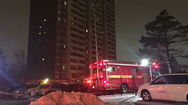 One man was taken to hospital with serious burns after a fire at a highrise on Weston Road. (Mike Nguyen/ CP24)