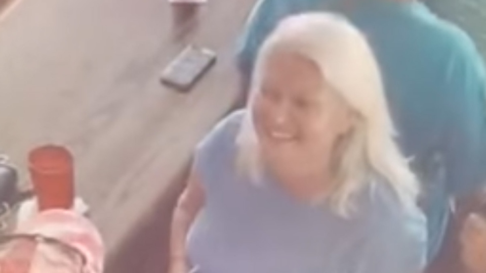 In this image from surveillance video, Lois Riess is seen at the Smokin' Oyster Brewery in Fort Myers Beach. (Lee County Sheriff's Office via Storyful)