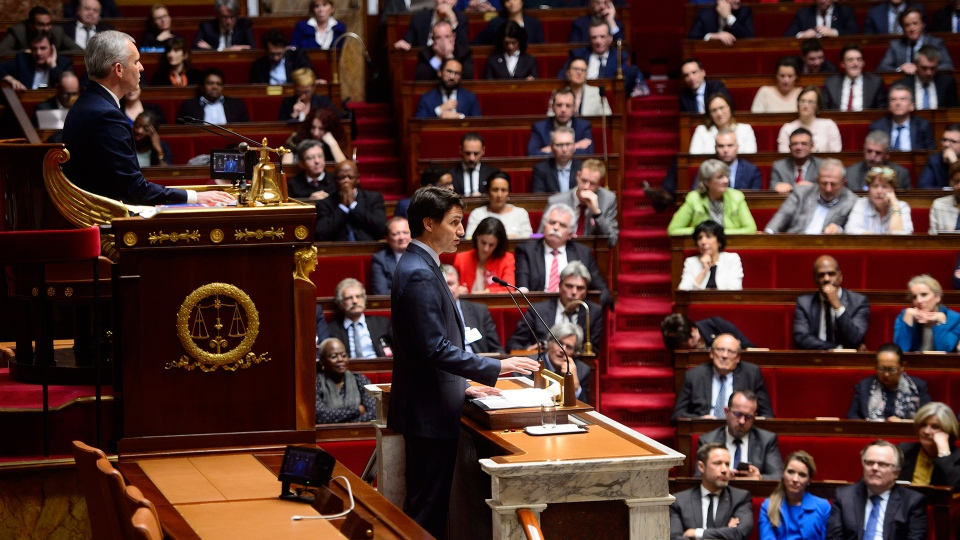 Prime Minister Justin Trudeau addresses the French National Assembly, in Paris, France on Tuesday, April 17, 2018. (Sean Kilpatrick / THE CANADIAN PRESS)