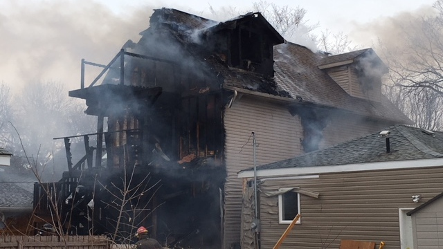 Damage from a fire at a home on Saskatoon's Avenue C North on Monday, April 16, 2018. (Saskatoon Fire Department)
