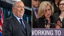 Alberta Premier Rachel Notley and B.C. Premier John Horgan are seen in this combination image. (Images from The Canadian Press)