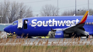 A Southwest Airlines Flight 1380 on the runway at the Philadelphia International Airport, on April 17, 2018. (David Maialetti /The Philadelphia Inquirer via AP)