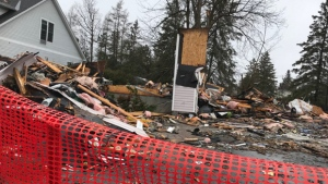 A house on Snowberry Way has been reduced to rubble after a fire broke out on Monday, Apr. 16, 2018.