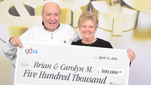 Brian and Carolyn Moore are $500,000 richer after playing the 'Extra' in the April 7 BCLC Lotto 6/49 draw. April 17, 2018. (BCLC)