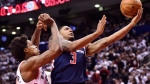 Washington Wizards guard Bradley Beal (3) drives past Toronto Raptors centre Lucas Nogueira (92) during second half round one NBA playoff basketball action in Toronto on Saturday, April 14, 2018. (THE CANADIAN PRESS/Frank Gunn)