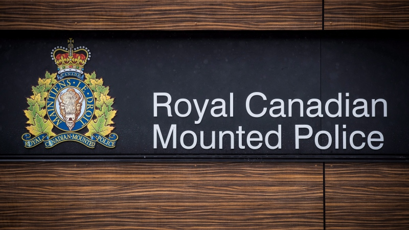 "The RCMP logo is seen outside Royal Canadian Mounted Police ""E"" Division Headquarters, in Surrey, B.C., on Friday April 13, 2018. (THE CANADIAN PRESS/Darryl Dyck)"