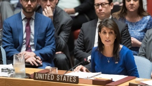 American Ambassador to the United Nations Nikki Haley speaks during a Security Council meeting on the situation in Syria at United Nations headquarters on Saturday, April 14, 2018. (AP Photo/Mary Altaffer)