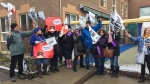 Workers on strike outside the Petit Charmant CPE on Wednesday April 18, 2018 (CTV Montreal/JL Boulch)