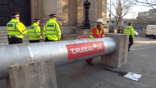 Greenpeace UK activists protest Trudeau in London