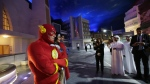 The Flash, Wonder Woman and Superman characters pose for picture at the Warner Bros. World amusement park in Abu Dhabi, United Arab Emirates, Wednesday, April 18, 2018. (AP Photo/Kamran Jebreili)