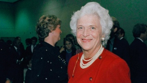 In this Oct. 11, 1984, file photo, Barbara Bush, wife of then-U.S. Vice-President George Bush, is photographed at the debate between Bush and Democrat Geraldine Ferraro. A family spokesman said Tuesday, April 17, 2018, that former first lady Barbara Bush has died at the age of 92. (AP Photo/File)