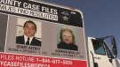 Photographs of Grant Ayerst and Norman Whalley are printed on the side of a truck in the Simcoe County area while police investigated their disappearances.