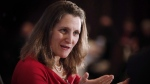 Chrystia Freeland, Minister of Foreign Affairs, participates in a question and answer session with Sean Finn, CN Executive Vice-President, Corporate Services and Chief Legal Officer, at a Winnipeg Chamber of Commerce luncheon in Winnipeg, Wednesday, April 4, 2018. (THE CANADIAN PRESS/John Woods)