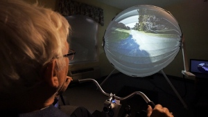 Howard Thornton tests out BikeAround technology at a retirement home in Oshawa, Ont.