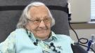 Granny 'Bea' Janyk smiles as she donates blood Thursday, April 18, 2018.