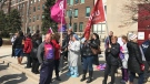 About 100 hospital workers took part in a rally in Windsor on Wednesday to back contract demands. (Angelo Aversa / CTV Windsor)