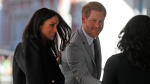 Prince Harry and his fiancee Meghan Markle arrive at the Queen Elizabeth II Center during the Commonwealth Heads of Government Meeting in London, Wednesday, April 18, 2018.(AP Photo/Frank Augstein)