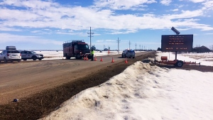 The intersection where the deadly Humboldt Broncos bus crash happened was closed all day on April 19 while police investigated. (GORD BARNETT/CTV PRINCE ALBERT)
