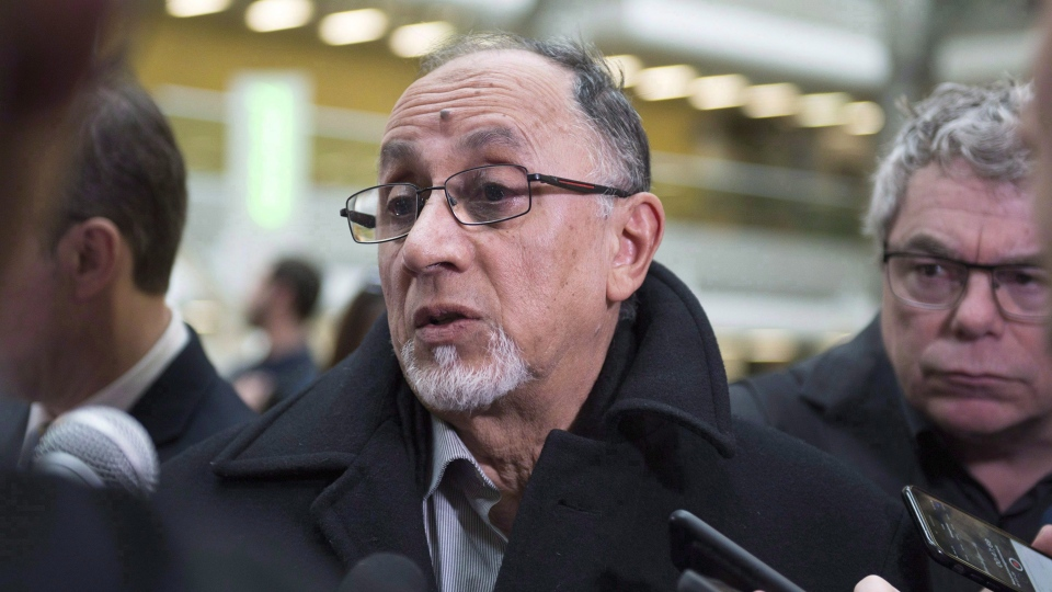 Quebec Islamic Cultural Centre president Boufeldja Benabdallah speaks at a news conference on Wednesday, March 28, 2018 at the hall of justice in Quebec City. THE CANADIAN PRESS/Jacques Boissinot