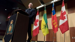Assistant Commissioner Curtis Zablocki gives an update on the Humboldt Broncos bus crash investigation, held at Depot Division in Regina, Saskatchewan on Thursday April 19, 2018.THE CANADIAN PRESS/Michael Bell