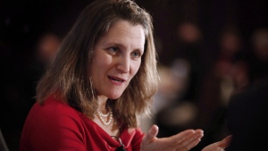 Chrystia Freeland, Minister of Foreign Affairs, participates in a question and answer session with Sean Finn, CN Executive Vice-President, Corporate Services and Chief Legal Officer, at a Winnipeg Chamber of Commerce luncheon in Winnipeg, Wednesday, April 4, 2018. THE CANADIAN PRESS/John Woods