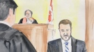 A courtroom sketch depicts Nicholas Butcher on the stand at his second-degree murder trial in the death of Halifax yoga instructor Kristin Johnston. (Vince Walsh)