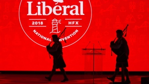 Members of the The 78th Highlanders (Halifax Citadel) Pipe Band take the stage at the start of the federal Liberal national convention in Halifax on Thursday, April 19, 2018. THE CANADIAN PRESS/Andrew Vaughan