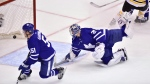 Toronto Maple Leafs goaltender Frederik Andersen (31) can't stop a shot by Boston Bruins left wing Brad Marchand as Marchand scores during second period NHL round one playoff hockey action in Toronto on Thursday, April 19, 2018. (THE CANADIAN PRESS/Frank Gunn)